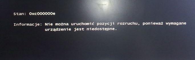 """""""0xc000000e"""" po przeniesieniu Win7 na inny dysk ROZWIĄZANIE"""