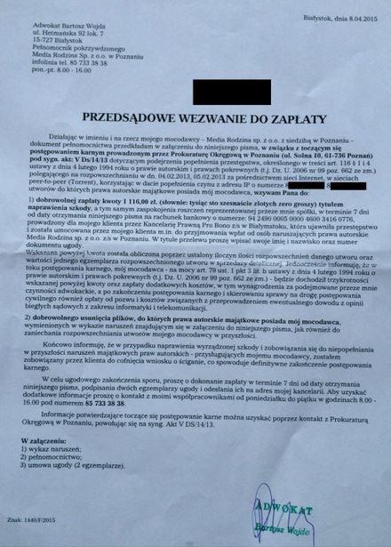 PRO BONO wzywa do zapłaty 1116 Przedsądowe wezwanie do zapłaty