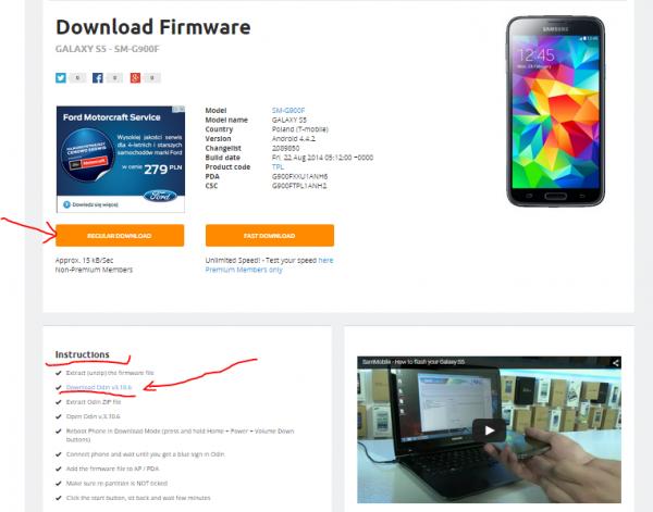 Pobieramy firmware i program ODIN do flashowania czyli zmiany Androida
