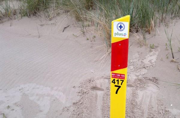 Słupek Bezpieczeństwa na plaży WOPR
