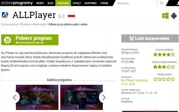 AllPlayer do pobrania na stronie www.dobreprogramy.pl
