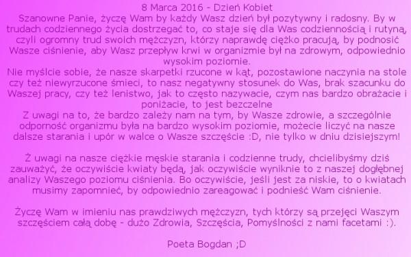 Wesołe życzenia Na Dzień Kobiet Od Bogdana 8 Marca 2016