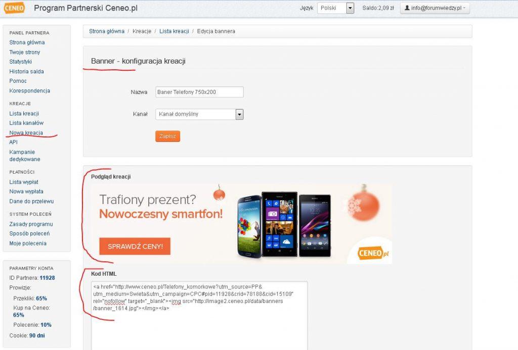 program partnerski ceneo.pl banner reklamowy