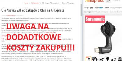 Cło Akcyza VAT od zakupów z Chin na AliExpress