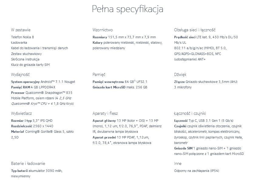 Nokia 8 Specyfikacja