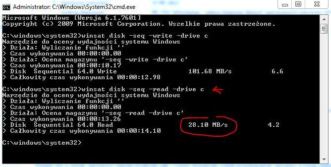 winsat disk -seq -read -drive c
