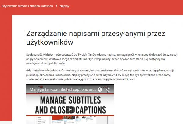 Zarządzanie Napisami Przesyłanymi Przez Użytkowników - YouTube